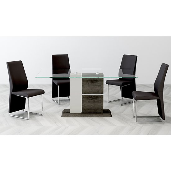 Panama Glass Dining Set With 6 Crystal PU Black Chairs