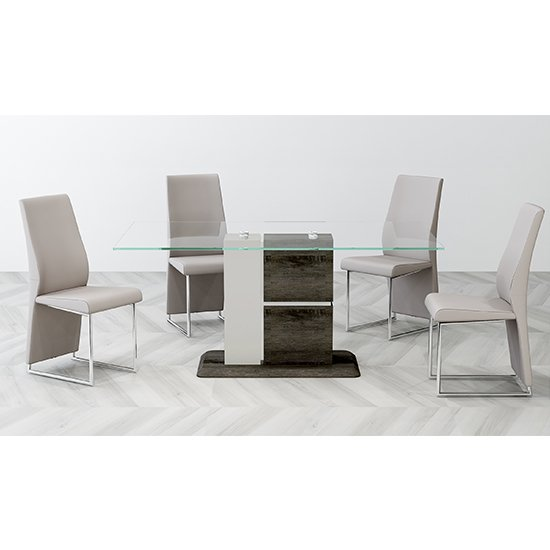 Panama Glass Dining Set With 6 Crystal PU Chamagne Chairs