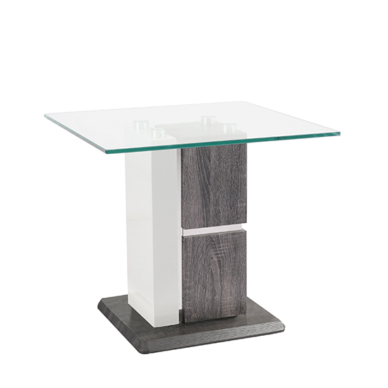 Panama Glass End Table With Dark Grey Wooden Base