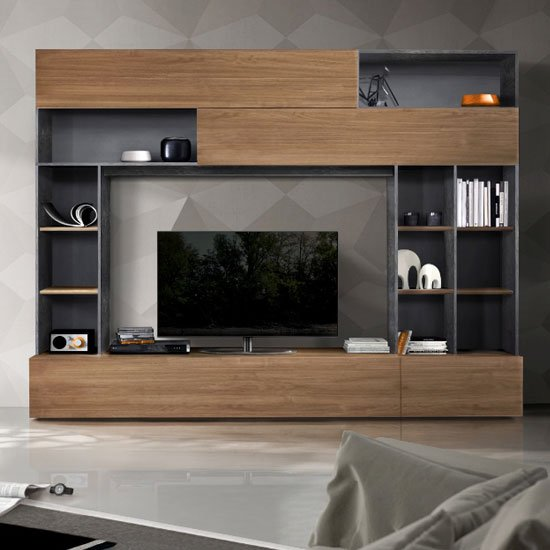 Pandora Large Entertainment Unit In Oxide And Stelvio Walnut