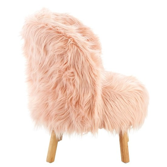Panton Childrens Chair In Pink Faux Fur With Wooden Legs_2