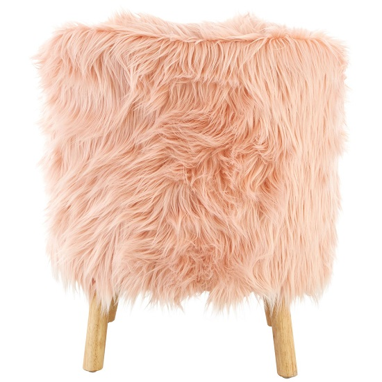 Panton Childrens Chair In Pink Faux Fur With Wooden Legs_3