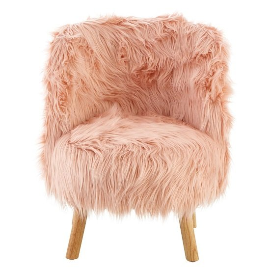 Panton Childrens Chair In Pink Faux Fur With Wooden Legs_4