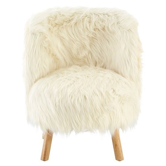 Panton Childrens Chair In White Faux Fur With Wooden Legs_2