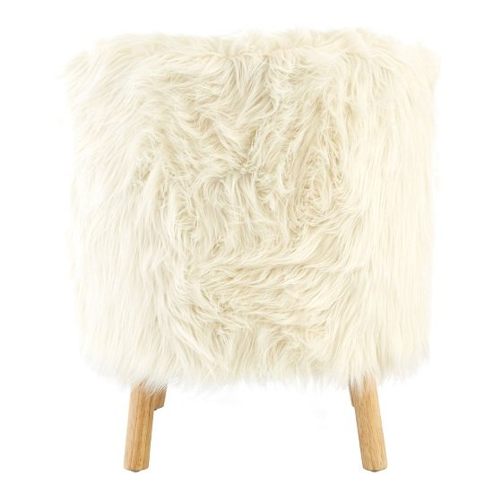 Panton Childrens Chair In White Faux Fur With Wooden Legs_3