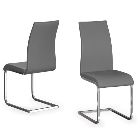 Paolo Grey Faux Leather Dining Chair In A Pair
