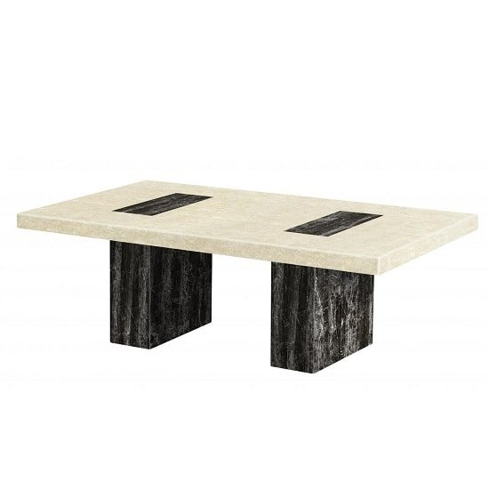 Paolo Marble Coffee Table Rectangular In Cream And Black