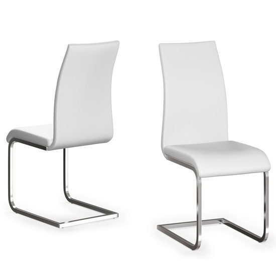 Paolo White Faux Leather Dining Chair In A Pair