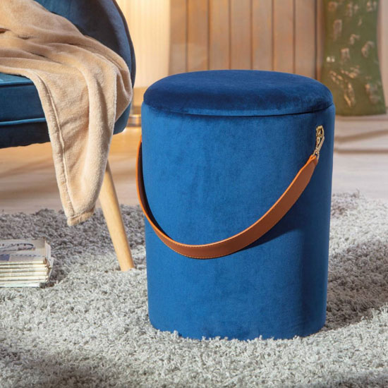 Papua Fabric Storage Ottoman In Night Blue With Leather Strap