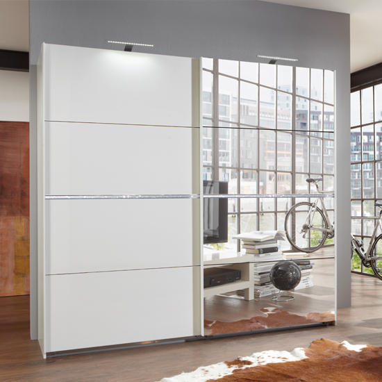 Swiss Sliding Wardrobe In White With Mirrors And Crystal