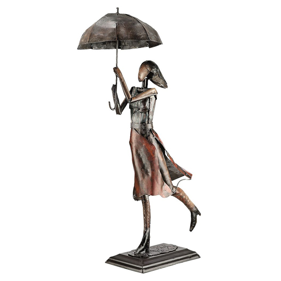 Parasol Woman Metal Sculpture In Antique Brown