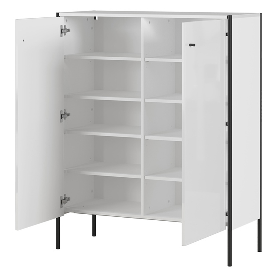 Parenzo Shoe Storage Cabinet In White High Gloss_2