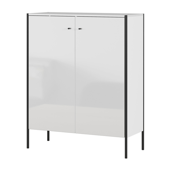 Parenzo Shoe Storage Cabinet In White High Gloss