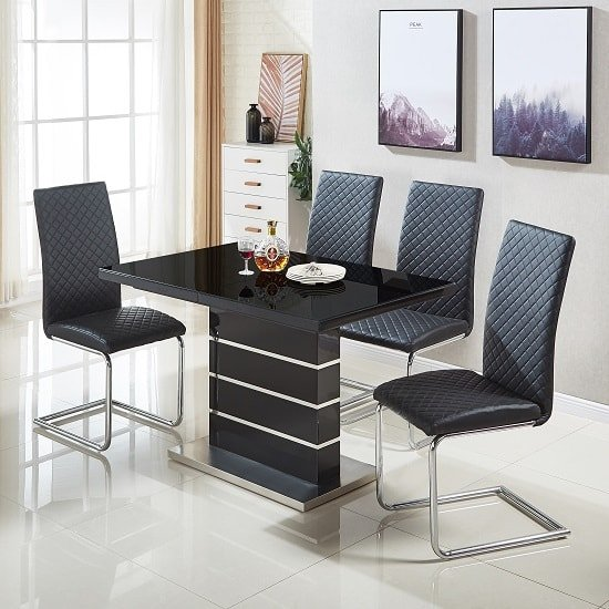 Parini Glass Extendable Dining Set In Black Gloss 4 Ronn Chairs