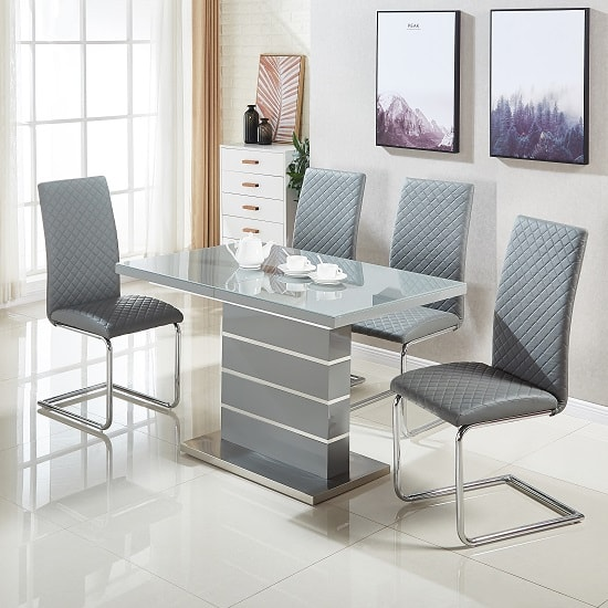 Furniture in Fashion & Parini Glass Extendable Dining Set In Grey Gloss With 4 Ronn Chairs