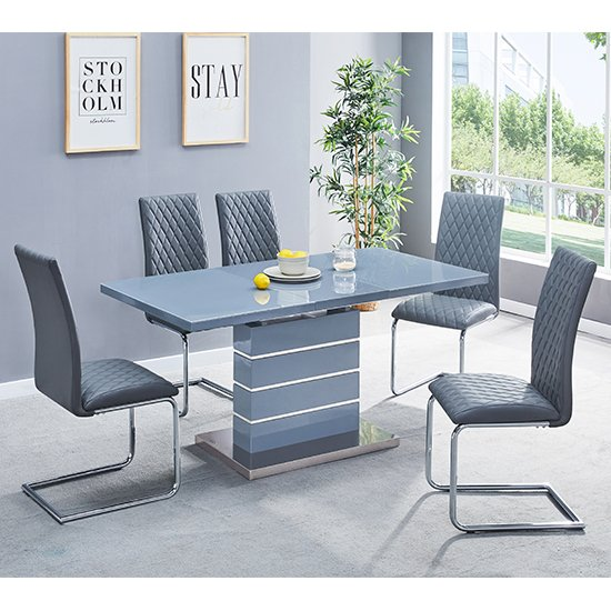 View Parini extendable grey gloss dining set and 4 grey ronn chairs