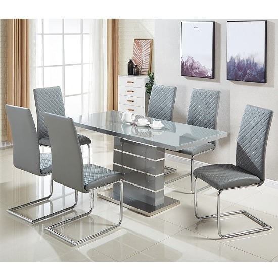 Parini Glass Extendable Dining Set In Grey Gloss 6 Ronn Chairs