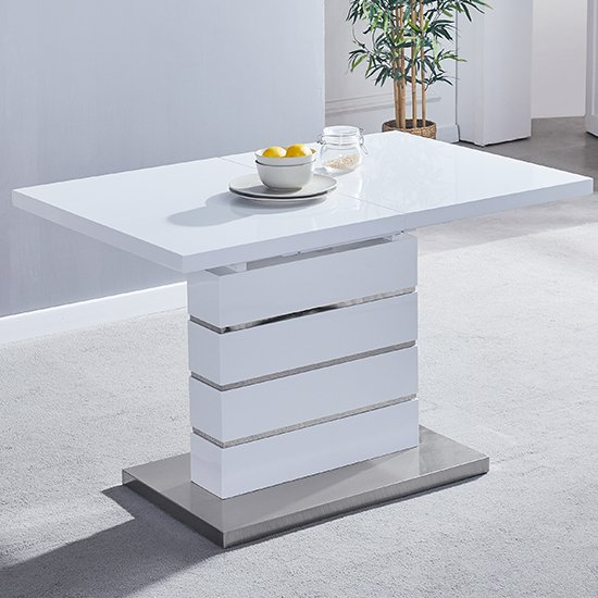 Parini Extendable Dining Table Rectangular In White High Gloss_2