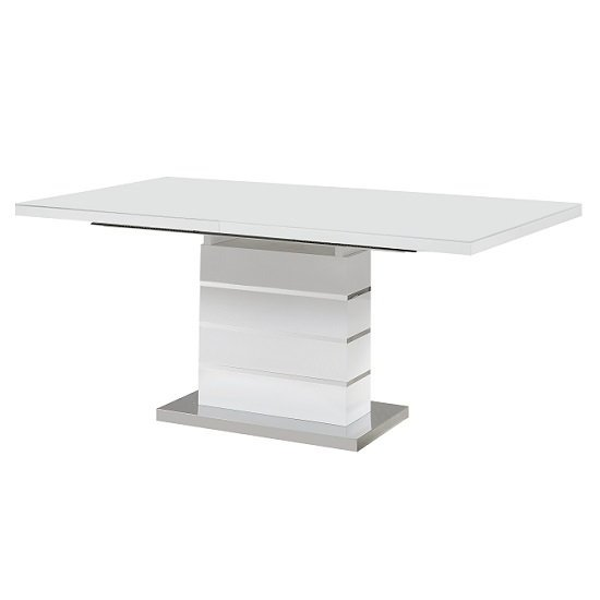 Parini Glass Extendable Dining Table Large In White High Gloss