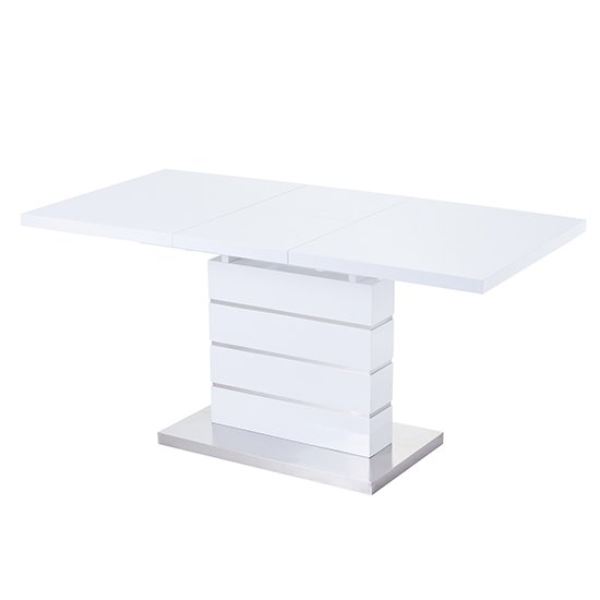 Parini Extendable Dining Table Rectangular In White High Gloss_4