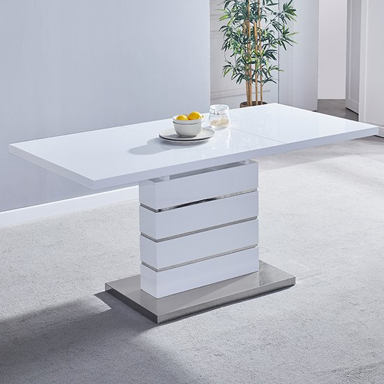 Parini Extendable Dining Table Rectangular In White High Gloss_1
