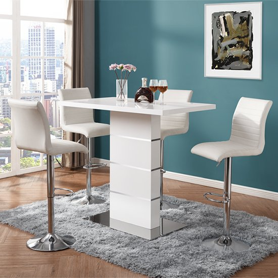 Parini High Gloss Bar Table In White With 4 Ripple White Stools