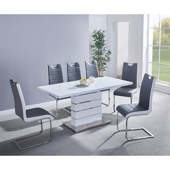 Parini Extending White Gloss Dining Set With 6 Grey White Chairs