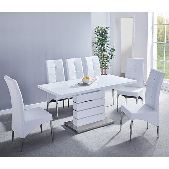 Parini Extending White Gloss Dining Set With 6 White Chairs_1