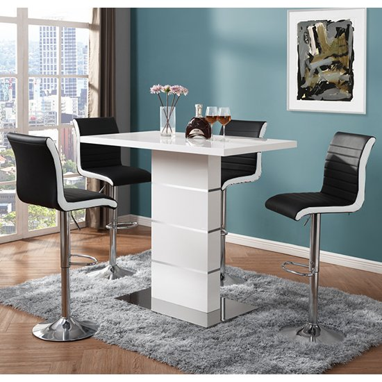 Parini White Gloss Bar Table With 4 Ritz Black And White Stools