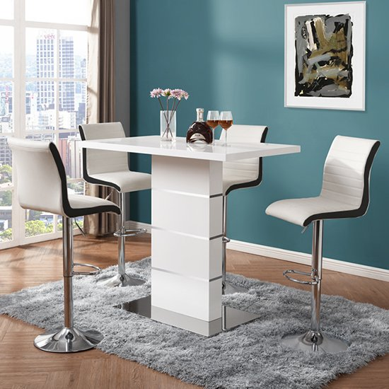 Parini White Gloss Bar Table With 4 Ritz White And Black Stools