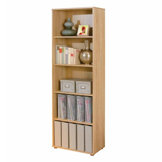 Parini Wooden Bookcase In Sonoma Oak With 4 Shelves