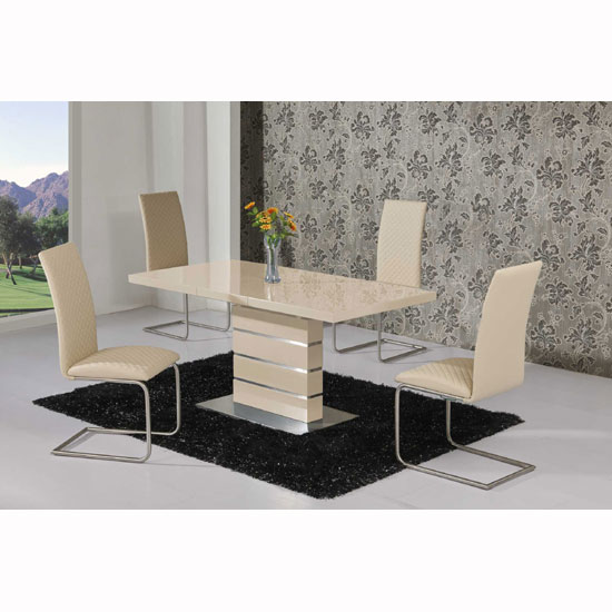 Parini Extendable Dining Set In Cream Gloss With 6 Ronn