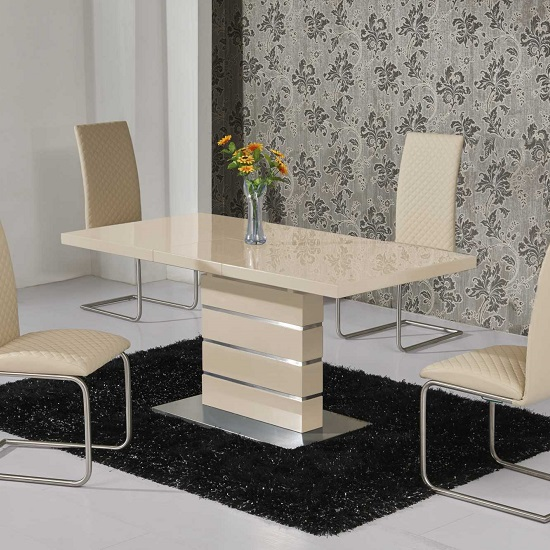 Modanuvo White Black Gloss Oak Extending Storage Coffee: Renoir Extendable Dining Table In Taupe And Grey Gloss 20750