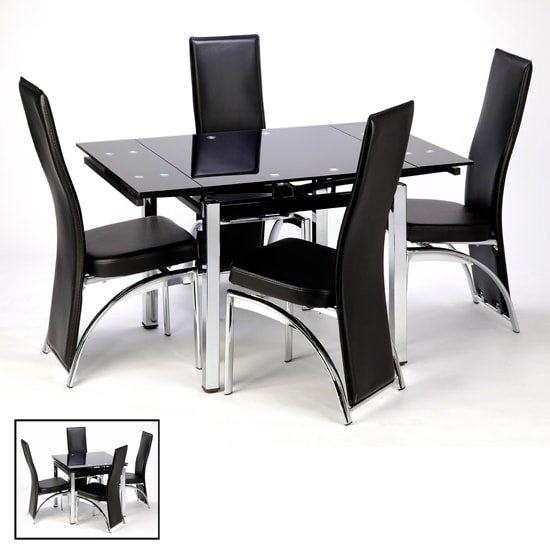 Paris extendable glass dining table in black and 4 romeo for Table extensible petit espace