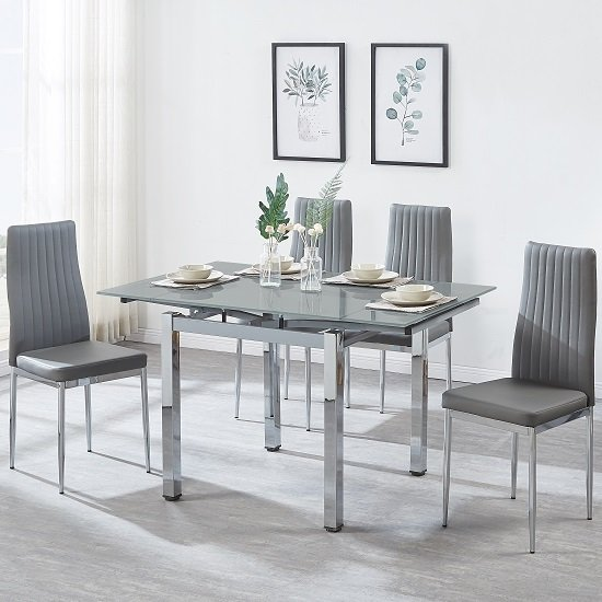 Paris Extendable Glass Dining Table In Grey And 4 Monza Chairs