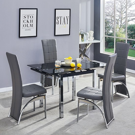 Paris Extending Glass Dining Table 4 Grey Ravenna Dining Chairs