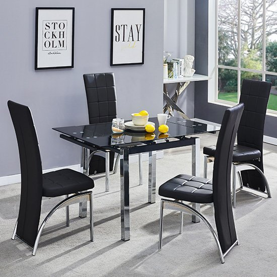 View Paris extending glass dining table 4 black ravenna dining chairs