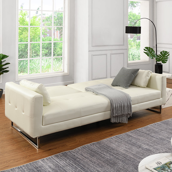 Paris Faux Leather 3 Seater Sofa Bed In White_2