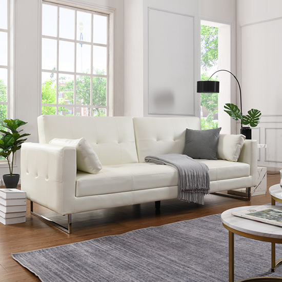 Paris Faux Leather 3 Seater Sofa Bed In White