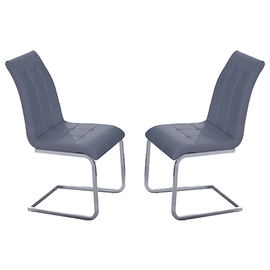 Paris Grey Faux Leather Dining Chairs In Pair