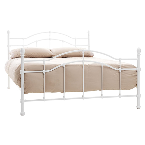 Paris Metal King Size Bed In White Gloss