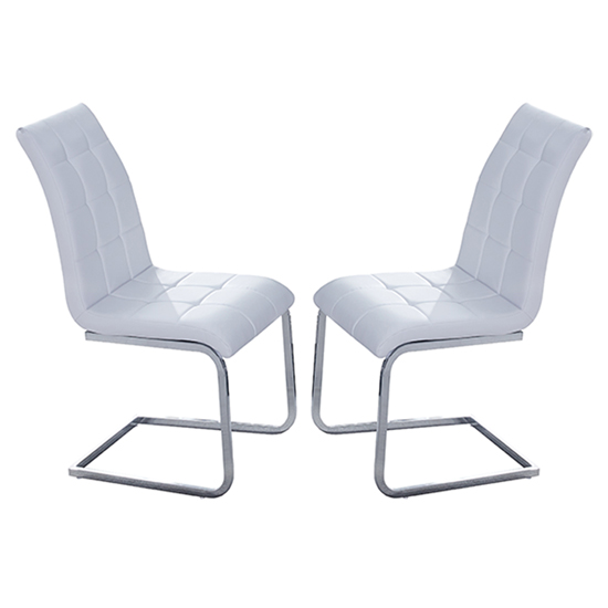 Paris White Faux Leather Dining Chair In Pair