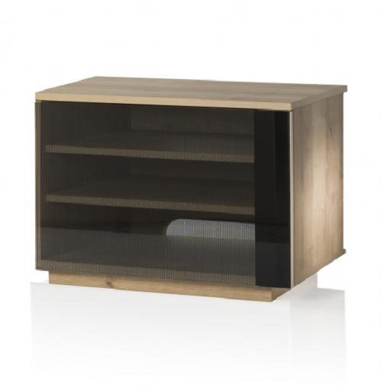 Parisian Modern TV Stand In Oak With Glass Door