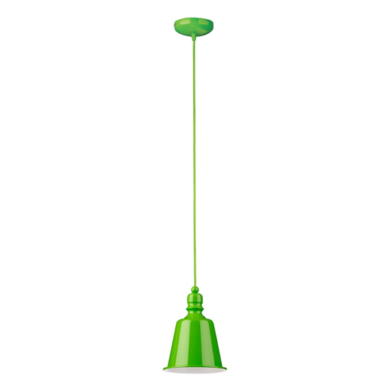 Parista Bell Design Shade Pendant Light In Lime Green