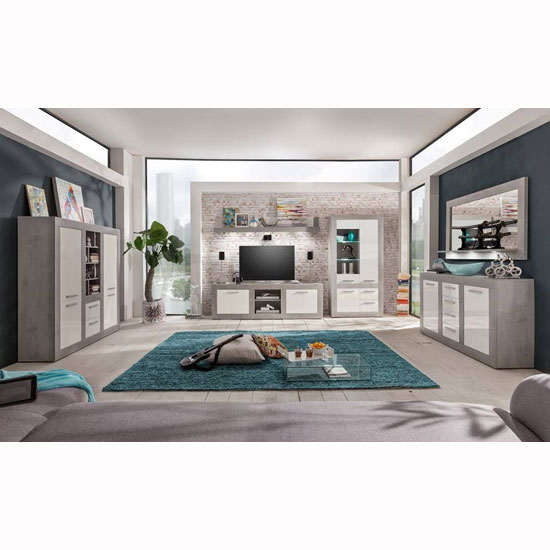 Parker Living Room Set In Concrete And White Gloss With LED_3