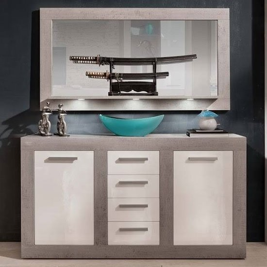 Parker Sideboard And Mirror In Concrete And White Gloss With LED