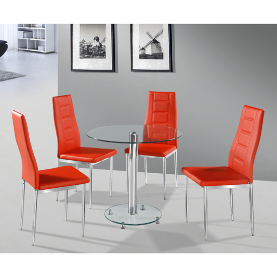 Kristof Round Clear Glass Dining Table And 4 Red Nova Chairs