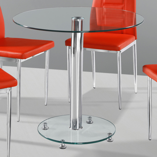 Kristof Round Clear Glass Dining Table Only