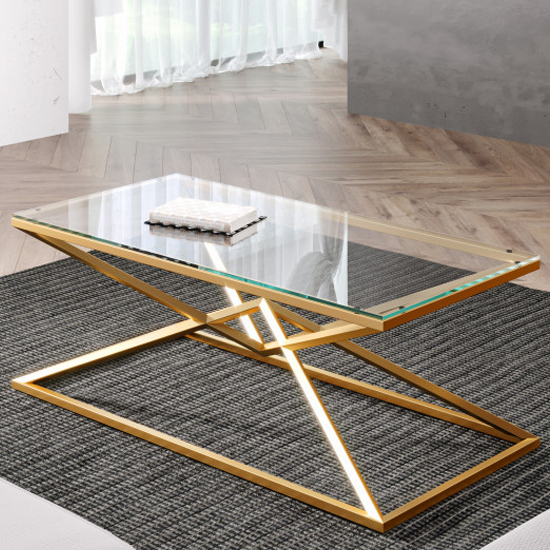 Parma Clear Glass Coffee Table With Gold Stainless Steel Legs