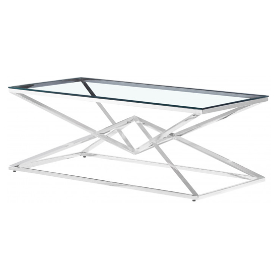 Parma Clear Glass Coffee Table With Silver Stainless Steel Legs_2